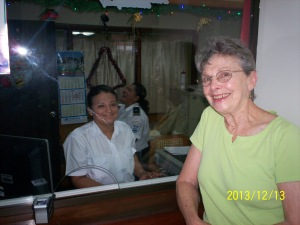 Margie at Nicaragua Immigration, residency accomplished